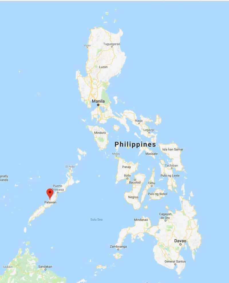מפה של האי פלאוואן